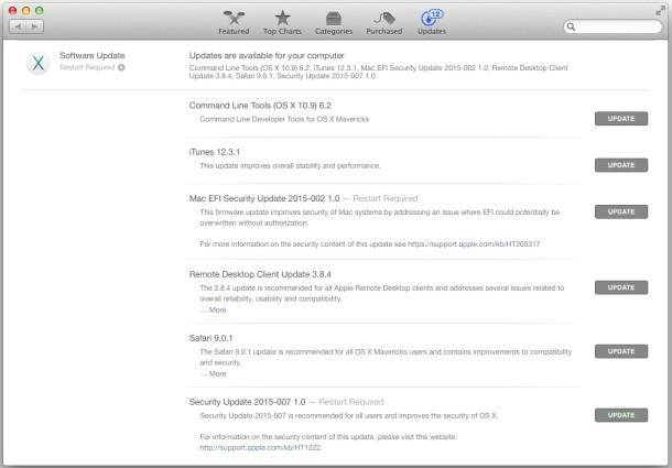 OS X Mavericks software updates Security Update EFI update etc