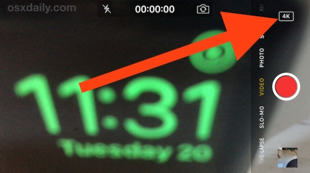 Recording 4K Video with iPhone Camera signified by 4k badge