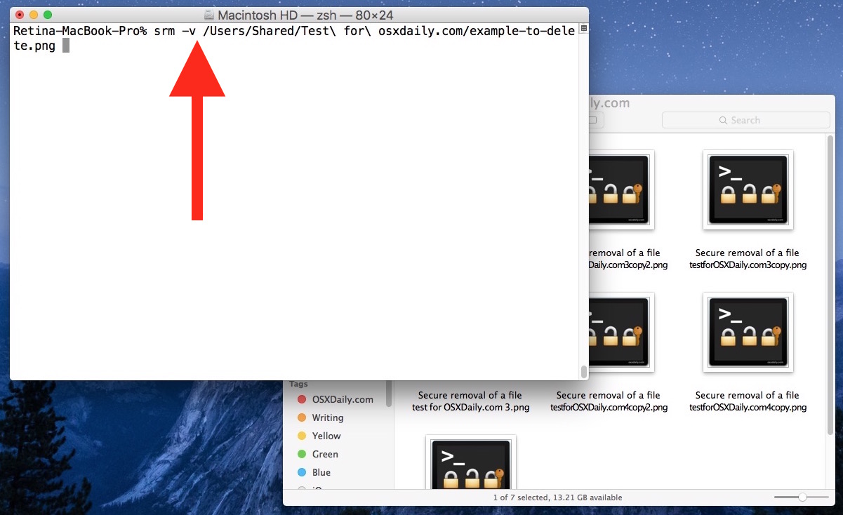 Secure Empty Trash equivalent in OS X El Capitan demonstrated with srm command