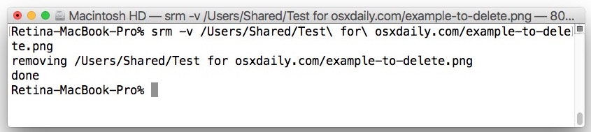 Secure removal of a file with srm like Secure Empty Trash in OS X