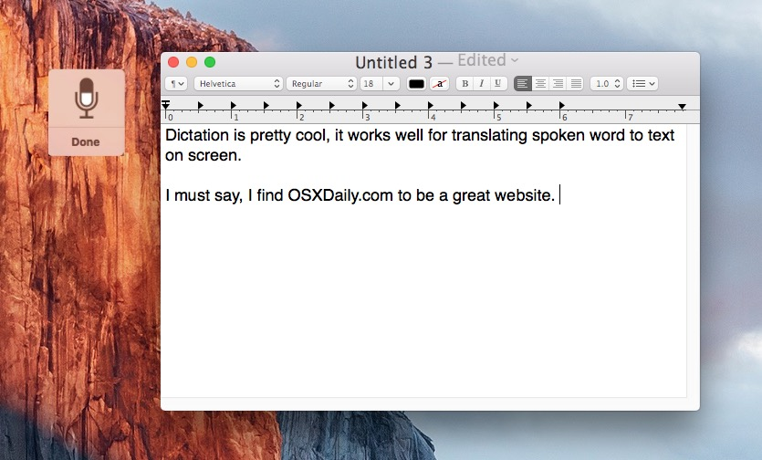 Starting Dictation by Voice Command in Mac OS X