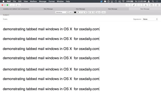 Demonstrating email tabs in Mail app for OS X