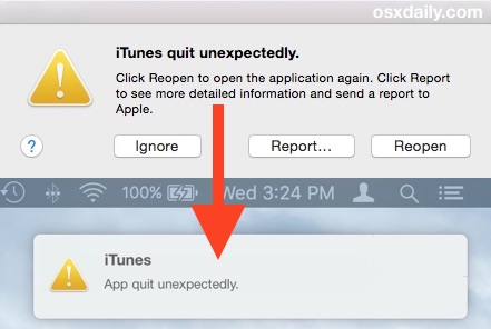 Crash Reporter as a notification in Mac OS X