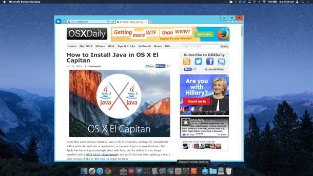 Using Internet Explorer 11 on a Mac