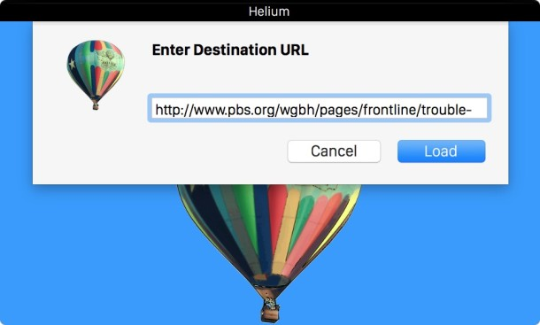 Feed URL to Helium app in OS X for PIP video