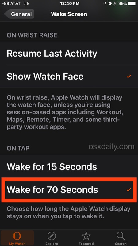 Change how long the Apple Watch display is active and awake for when tapped