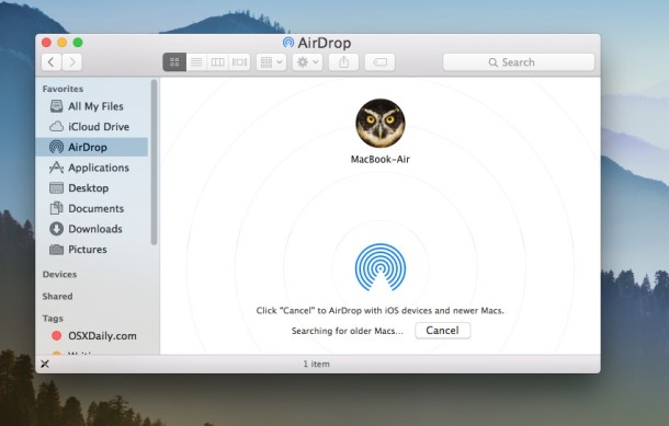 Older Mac now visible with compatibility mode on new Mac with new OS X