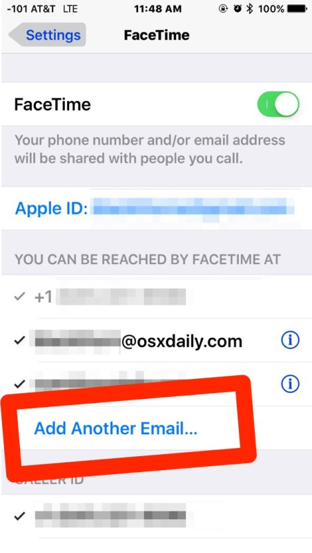 Add another email address to Facetime in iOS