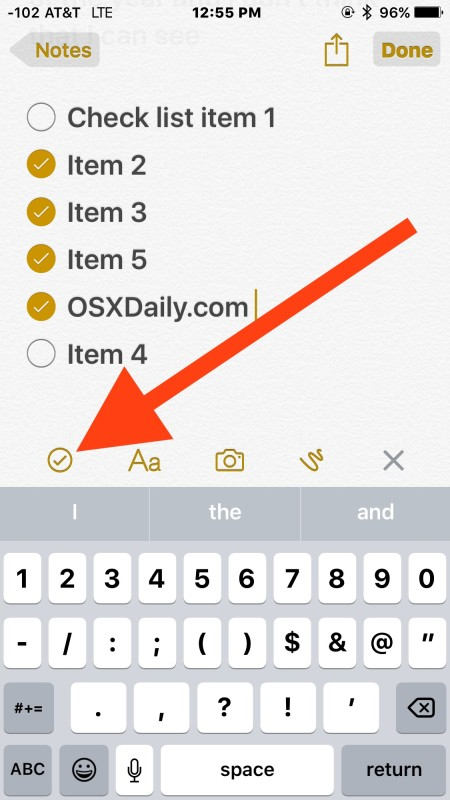 Add checklist to Notes in iOS