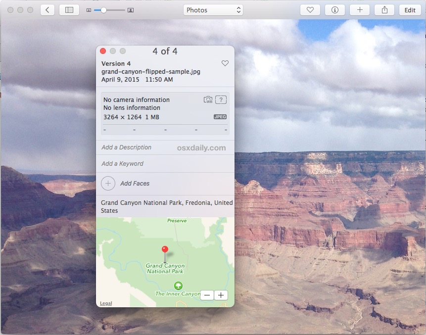 Add location data to pictures in Photos for Mac