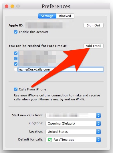 Add a new FaceTime email to the Mac