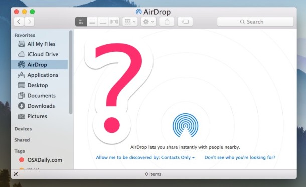 Fix AirDrop not working by enabling compatibility mode in Mac OS X