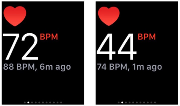 Apple Watch heart rate reading