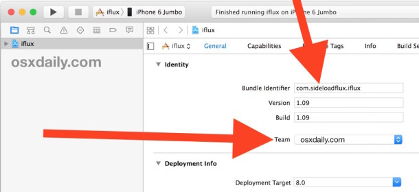 Change the bundle name and select your Xcode Apple ID for Team