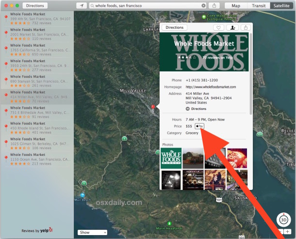 Check a store for Apple Pay support in Mac OS X Maps app