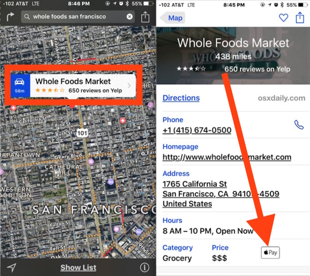 Check a store for Apple Pay support in Maps for iOS