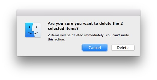 Confirm to delete a file immediately in Mac OS X