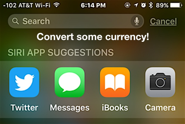 Convert currency in Spotlight