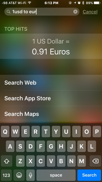 Converting Currency in Spotlight on iPhone