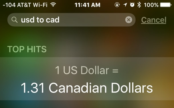 Converting currency in Spotlight Search for iOS on iPhone