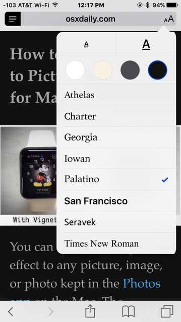 Customize Safari Reader appearance with font size and font changes and background color