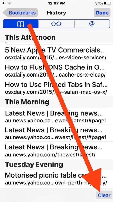 Delete recent Safari history browsing data and cache