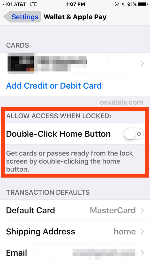 Enable or Disable the Apple Pay access shortcut from lock screen