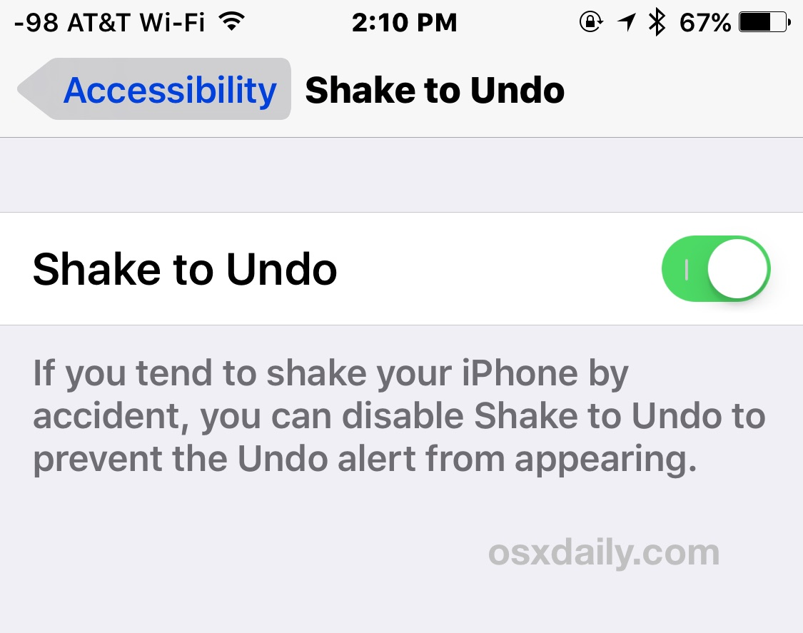 Disable or enable shake to undo in iOS