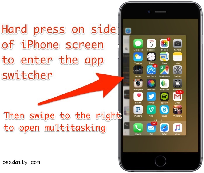 Enter app switcher with 3D Touch on iPhone screen