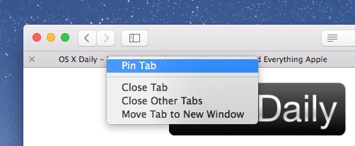 How to pin a tab in Safari with right-click
