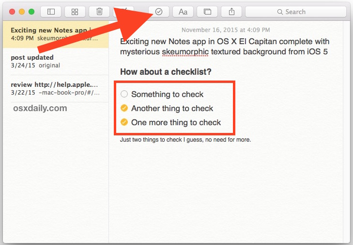 Insert checklist into Notes in Mac OS X