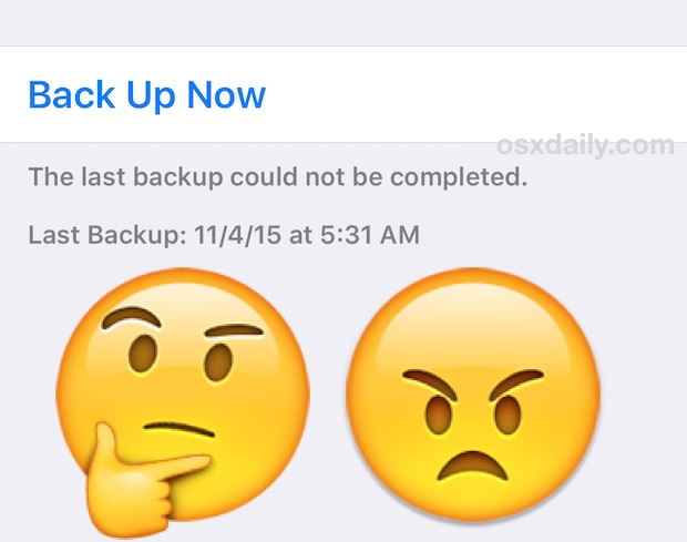 Last backup could not be completed to iCloud error in iOS