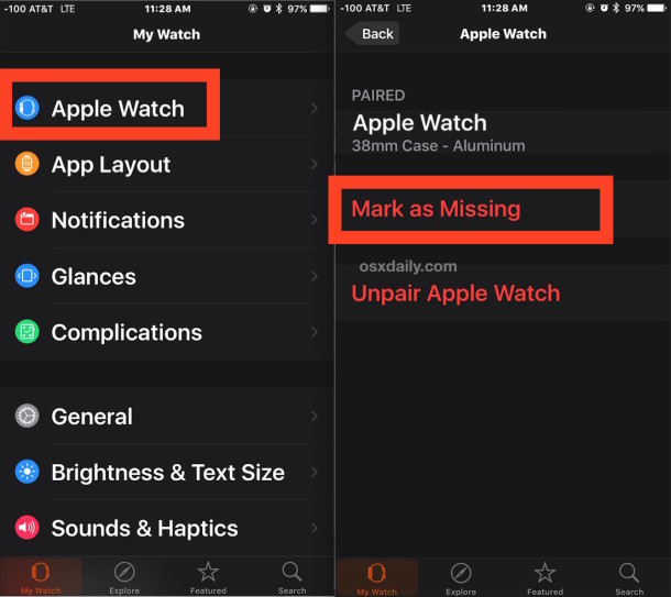 Mark Apple Watch as Missing to Enable Activation Lock