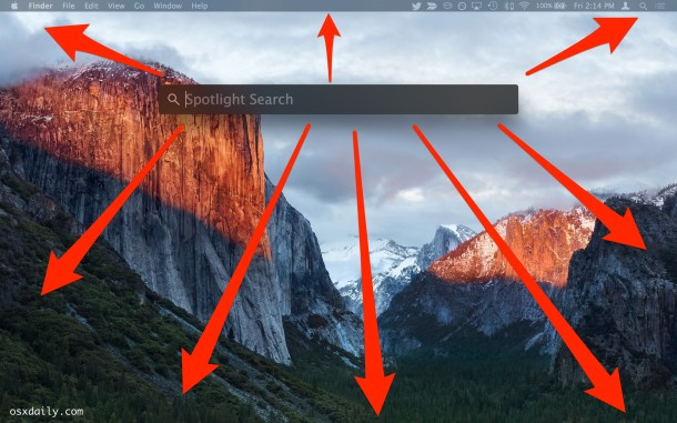 Move the Spotlight search window anywhere on screen in Mac OS X