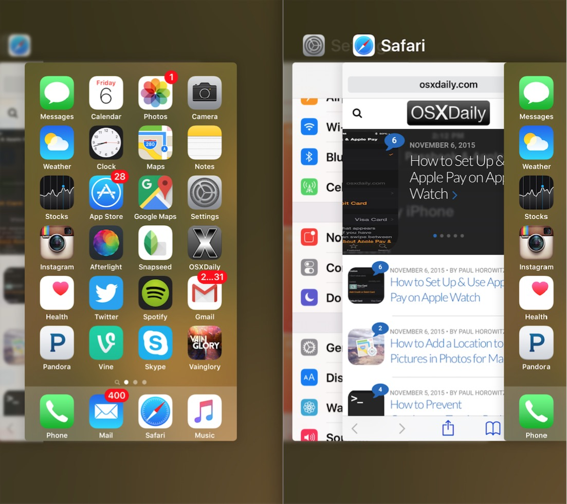 The App Switcher multitasking screen on iPhone can be accessed with 3D Touch