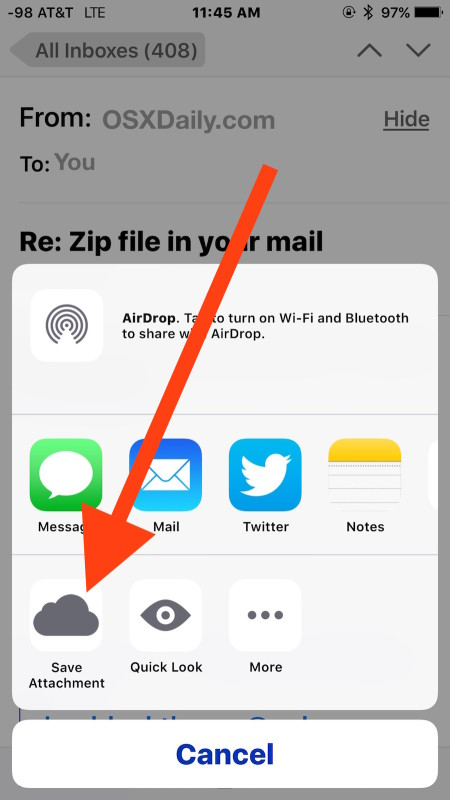 "Choose ""Save Attachment"" to save the email attachment to iCloud Drive from iOS Mail app"