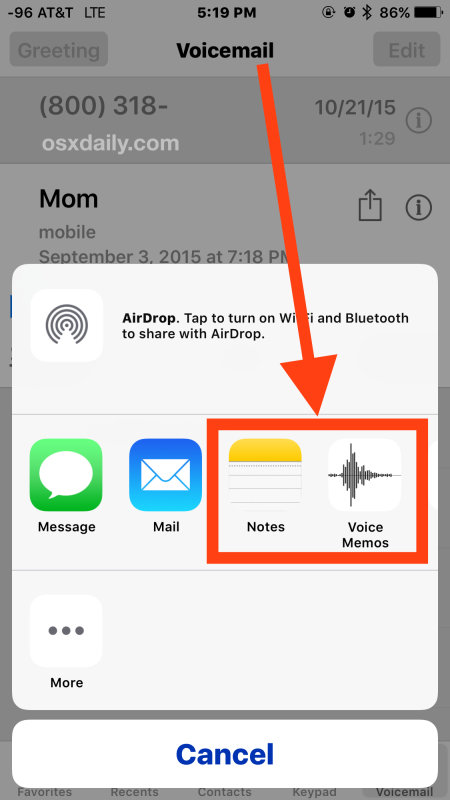 Save an iPhone voicemail to iPhone