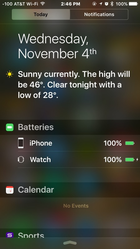 See the battery life of connected devices from iPhone, iPad, iPod touch Notification Center