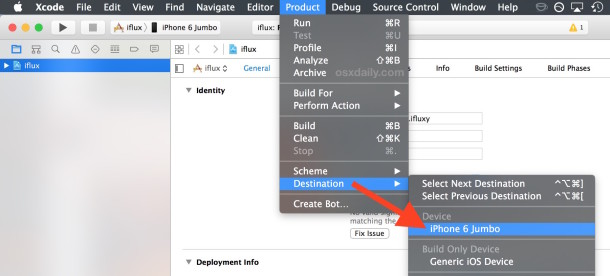 Select the destination iOS device from the Product menu of Xcode