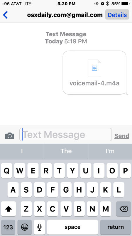 A voicemail shared through iMessage from iPhone