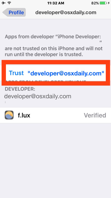 Trust the developer account you added to sideload apps onto the iOS device