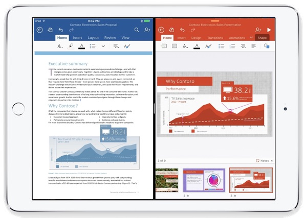 Split view multitasking with Microsoft Office on iPad