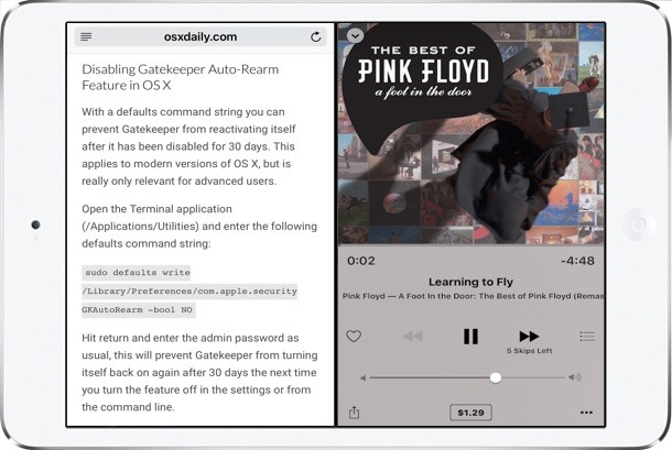 Split View iPad multitasking splits screen between two apps