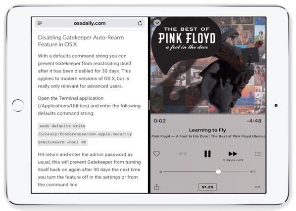 Split View multitasking on iPad