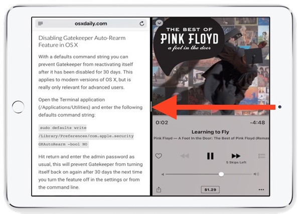 Swipe left to right to enter Split View on iPad