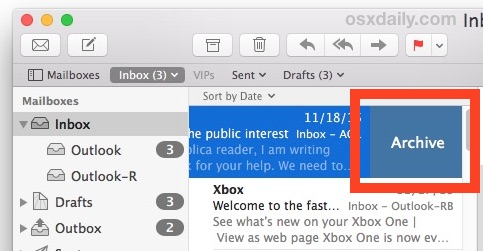 Swipe Left to Archive or Trash in Mac OS X Mail app gesture