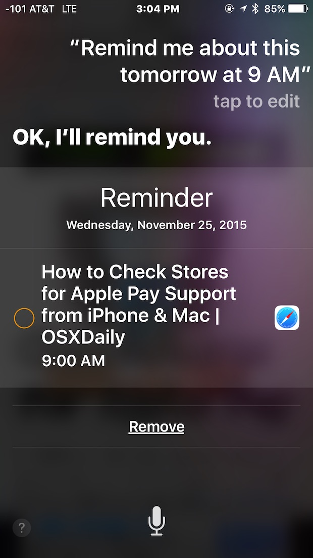 Tell Siri to remind me about this at a date and time