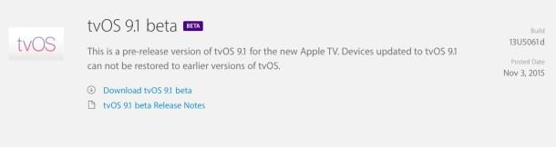 tvOS 9.1 beta 1