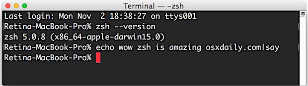 Use zsh as Terminal default in Mac OS X