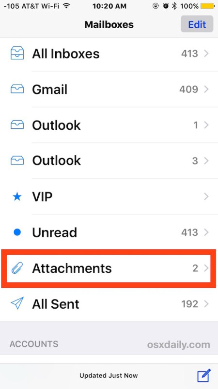 The Attachments inbox in Mail for iOS sorts and shows only emails with attachments